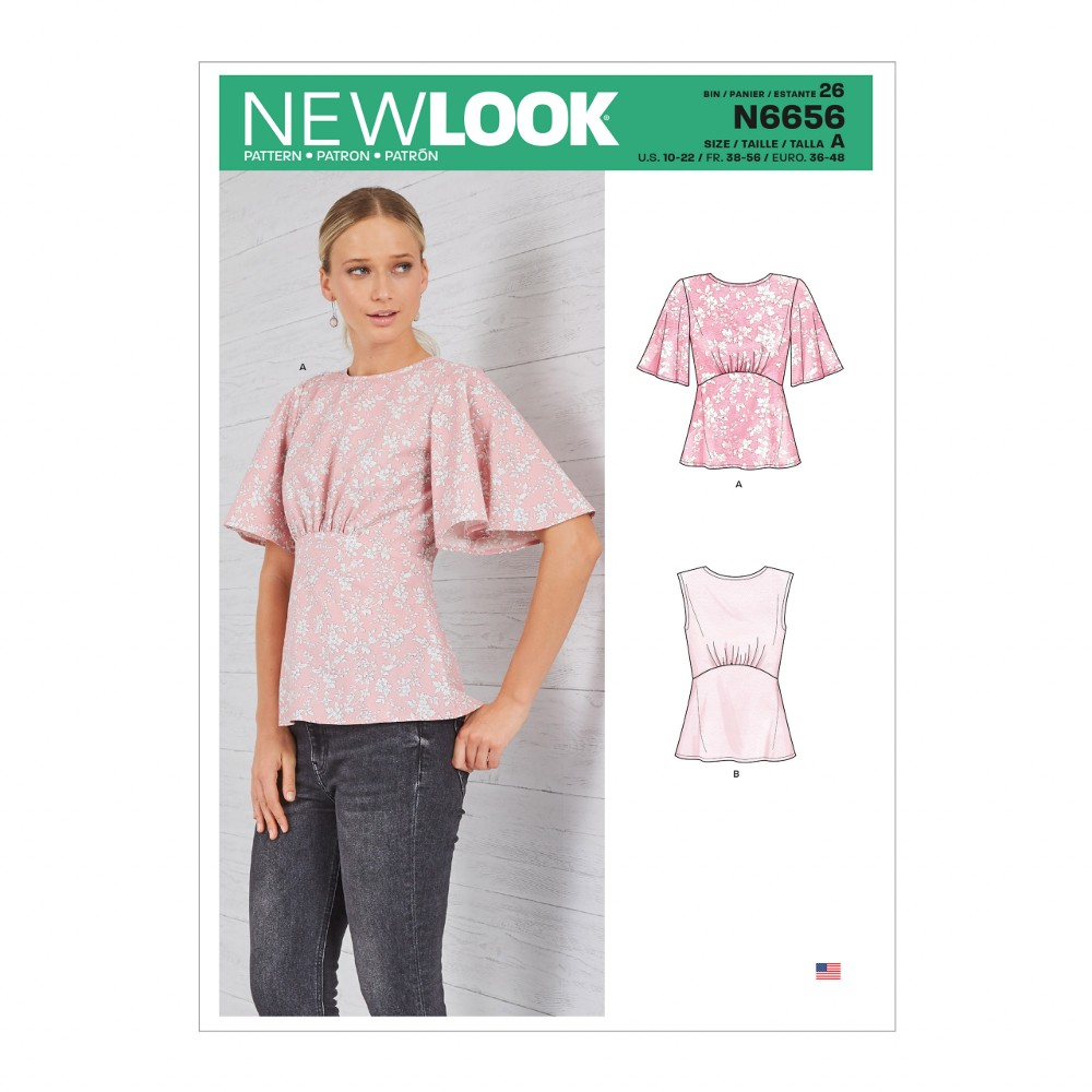New Look Sewing Pattern 6656 Misses' Bat Wing Top T-Shirt Womens