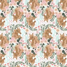 100% Cotton Fabric Dear Stella Desert Bloom Horse Floral Horses