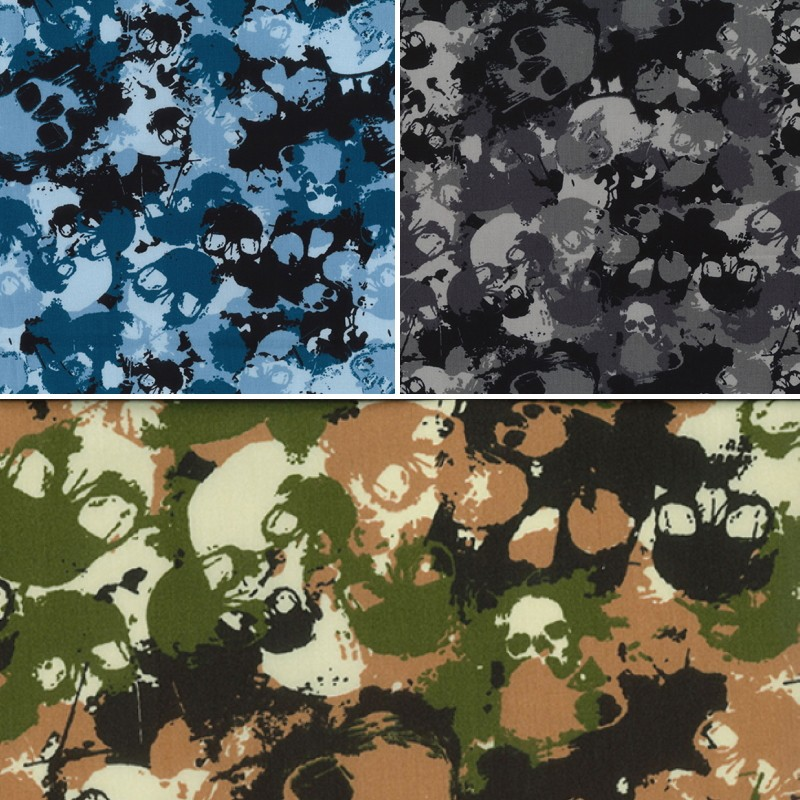 100% Cotton Poplin Fabric Rose & Hubble Camo Skulls Camouflage Army Grey